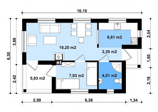 G250 - Budynek rekreacji indywidualnej - Rzut parteru