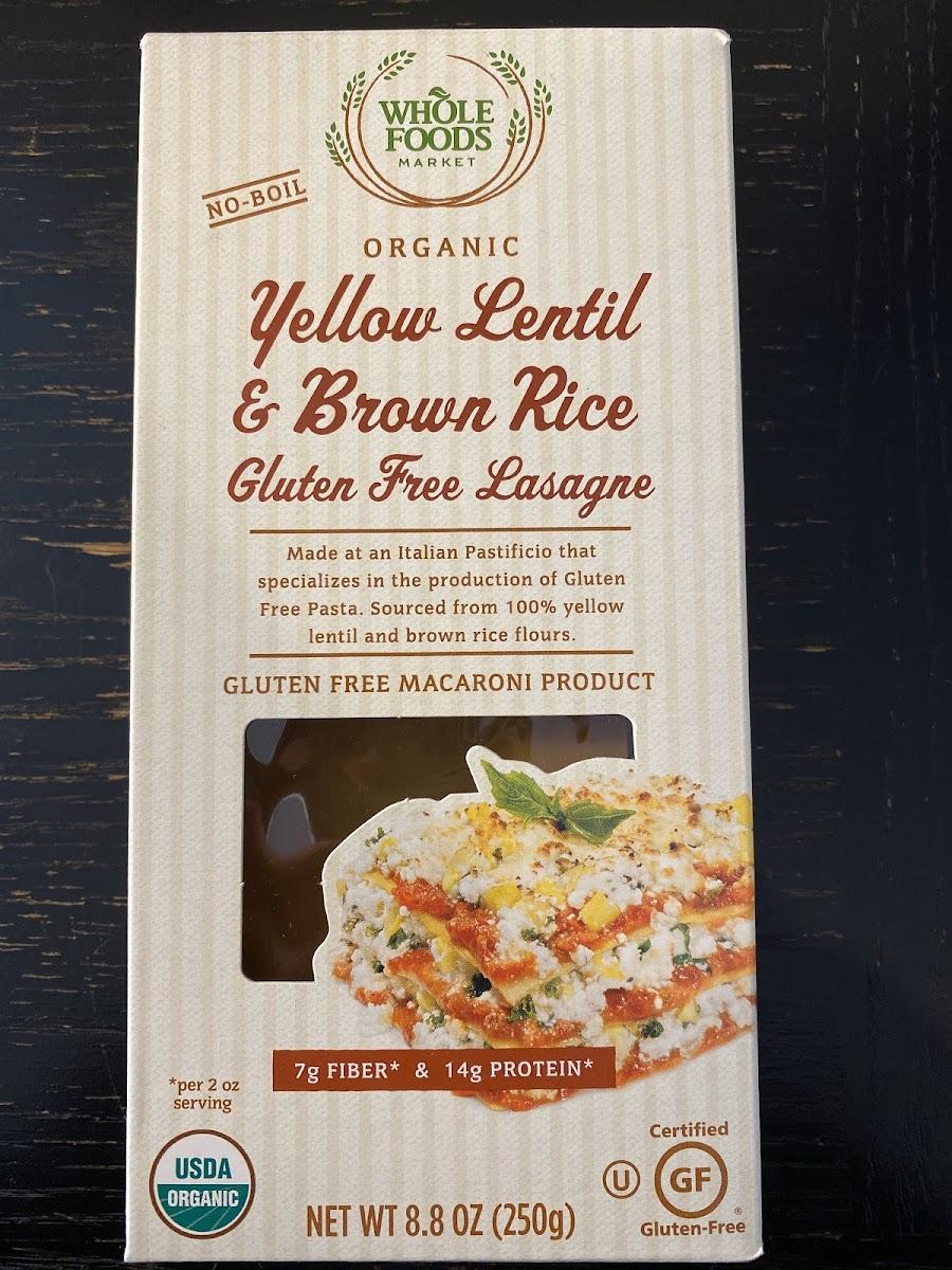 Organic Yellow Lentil & Brown Rice Gluten Free Lasagne