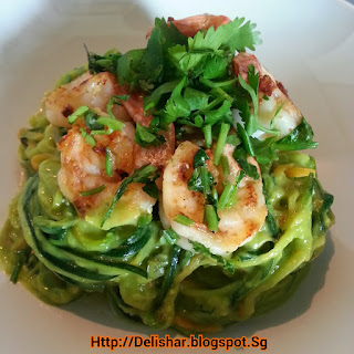 Avocado Cream Zucchini 'Pasta' with Lime Parsley Prawns.