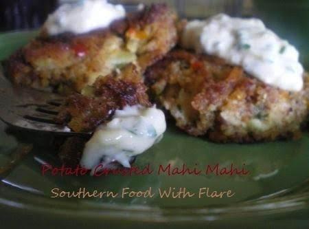 Potato Crusted Mahi Mahi Corn Cakes