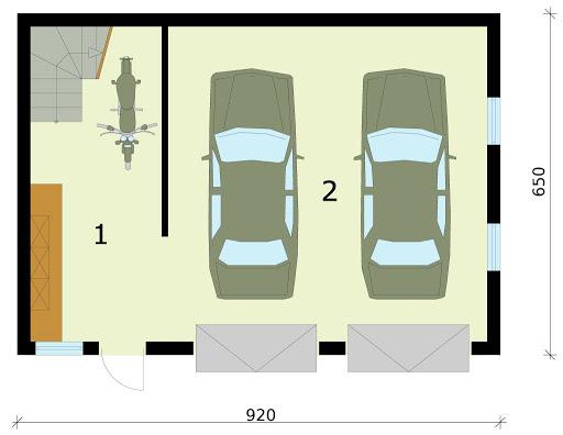 G295 szkielet drewniany garaż dwustanowiskowy z poddaszem użytkowym - Rzut garażu