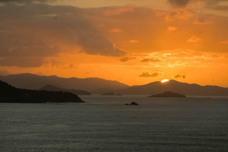 Necker Island in the British Virgin Islands at sunset.