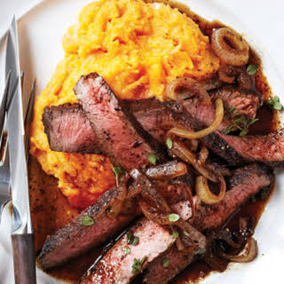 Balsamic-Glazed Sirloin with Rustic Sweet Potato Mash.