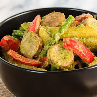 One Pot Sausage and Asparagus Pesto Pasta.