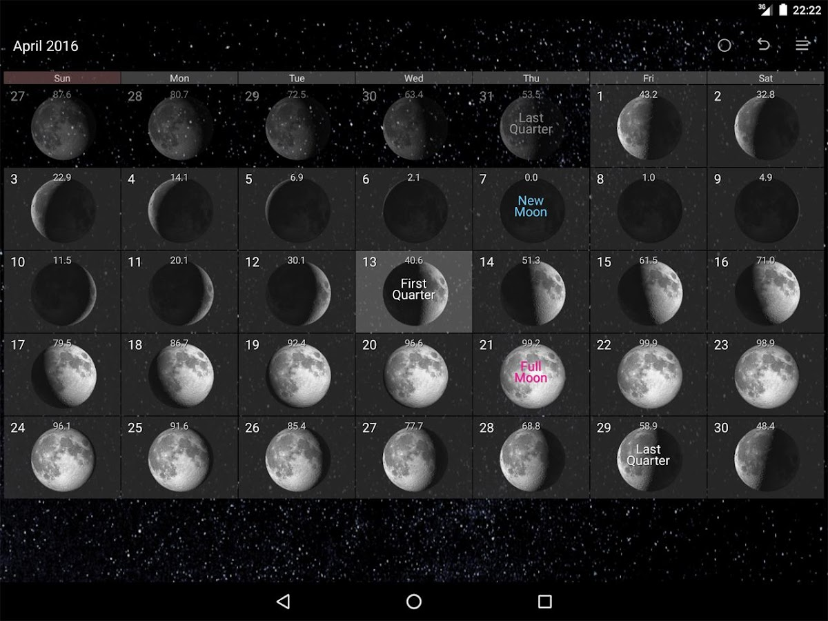 Simple Moon Phase Calendar- screenshot