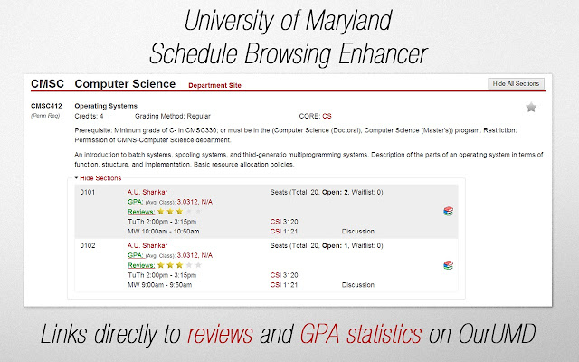 UMD Schedule Browsing Enhancer