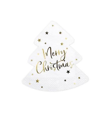 Servetter - Julgran Merry christmas, guld
