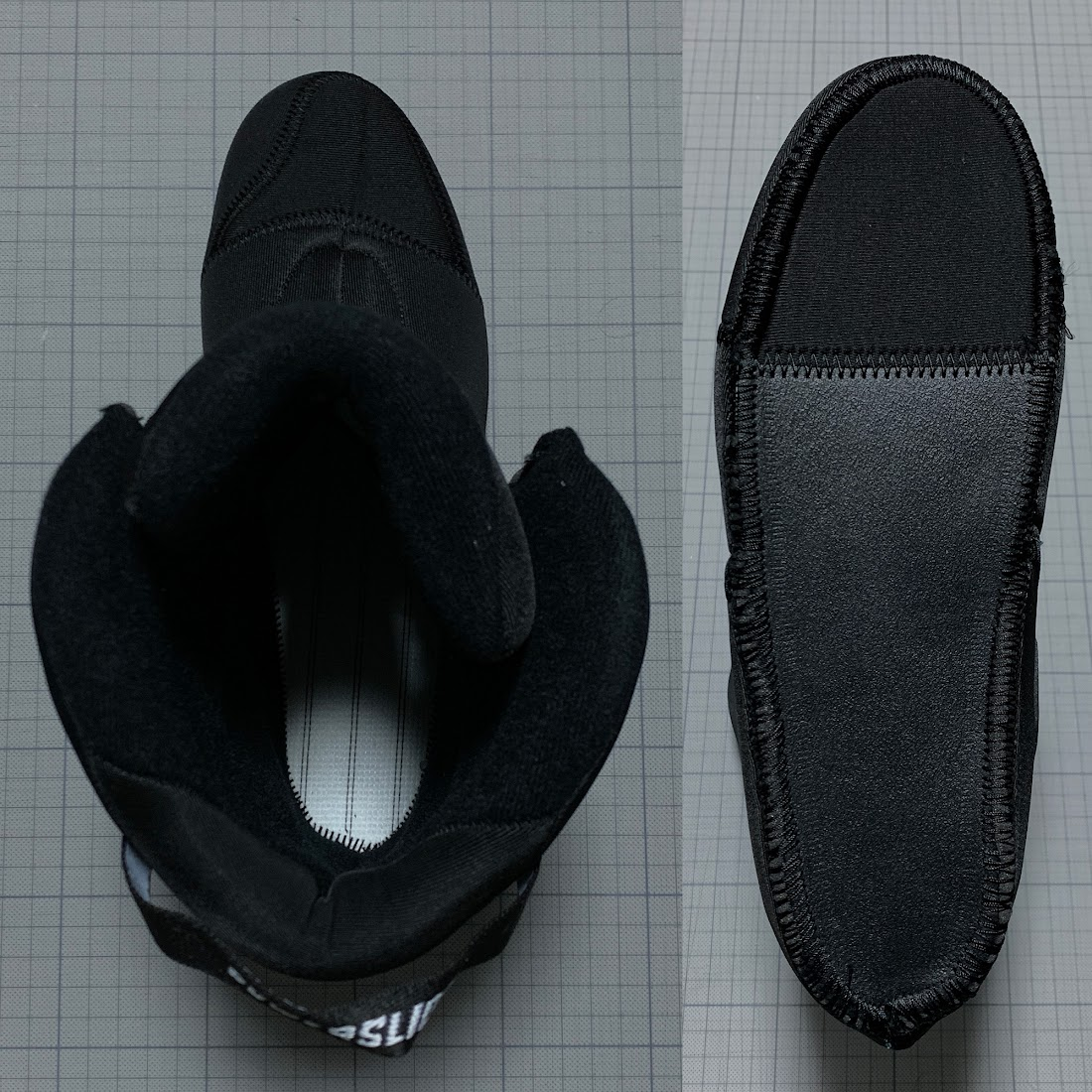 写真8 左:インナーブーツを上から 右:インナーブーツを底から