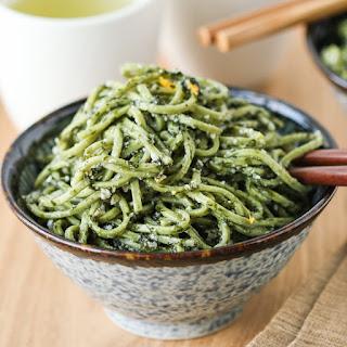 Green Tea Soba with Nori Pesto