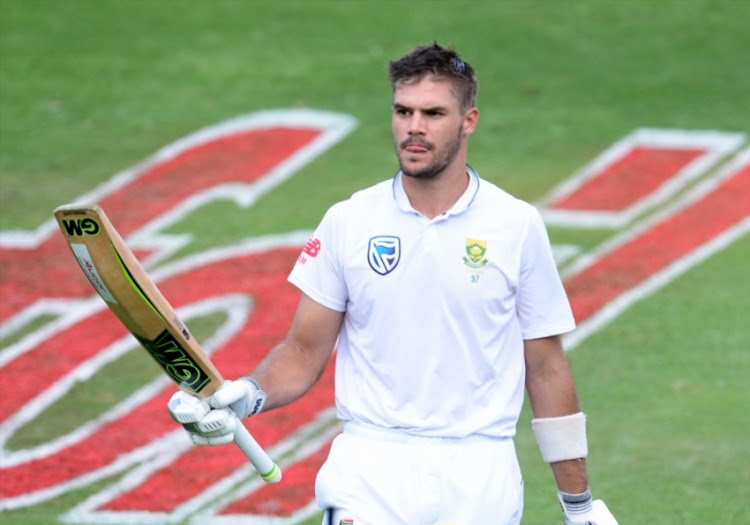 Aiden Markram of the Proteas put for 152 runs during day 1 of the 4th Sunfoil Test match between South Africa and Australia at Bidvest Wanderers Stadium on March 30, 2018 in Johannesburg, South Africa.