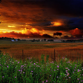 Country Farm Sunset after Spring Rain by Forest Wander - Landscapes Prairies, Meadows & Fields ( spring rain, west virginia, colorful, sunset, country farm )