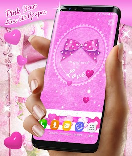 Pink Bow Live Wallpaper for Girls - náhled