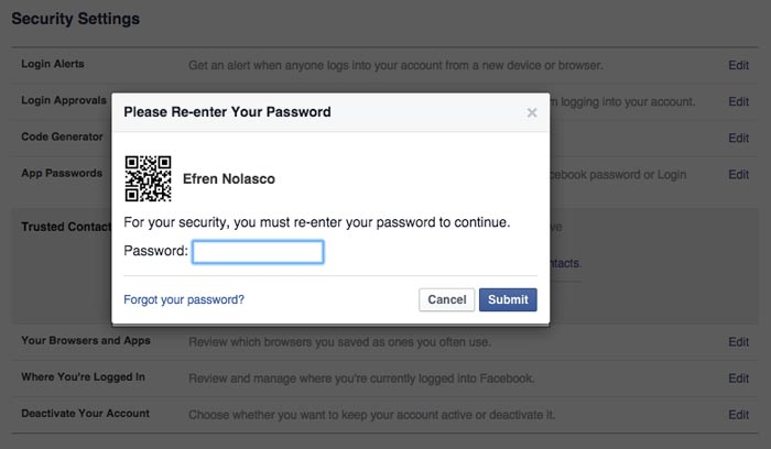 How to add trusted contacts on Facebook step 4