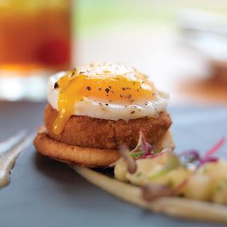 Cured Berkshire Pork Belly Scrapple, Fried Nantucket Pullet Egg, Toasted Cider Muffin, Honey Crisp Apple Compote.