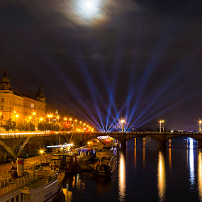 Prague night light show  by Thurisaz Photography - City,  Street & Park  Night ( riverside, boats, fullmoon, vltava, czech republic, buildings, reflections, night, bridge, light show, prague, lanterns, river,  )