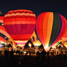 Night Burn! by Hal Gonzales - Transportation Other ( army, hot air balloon, burn, light, nightscape )