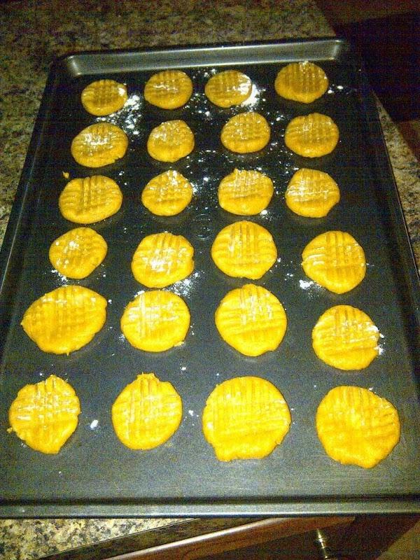 Bake at 350 degrees for 10 minutes or until lightly brown. Makes 3- 4 dozen...