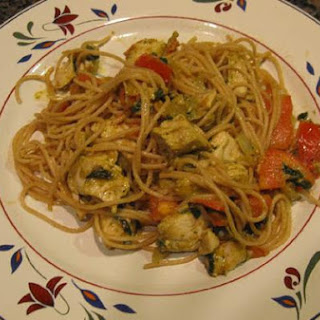 Basil Pesto Chicken Over Angel Hair Pasta