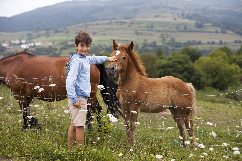 Niño con potro en Cantabria