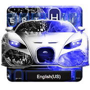 Free Download Neon Blue Sports Car Keyboard Theme APK for Samsung