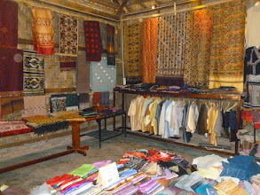 Photo: We went to a nice silk shop where we saw some of their weavers and admired their finished products.