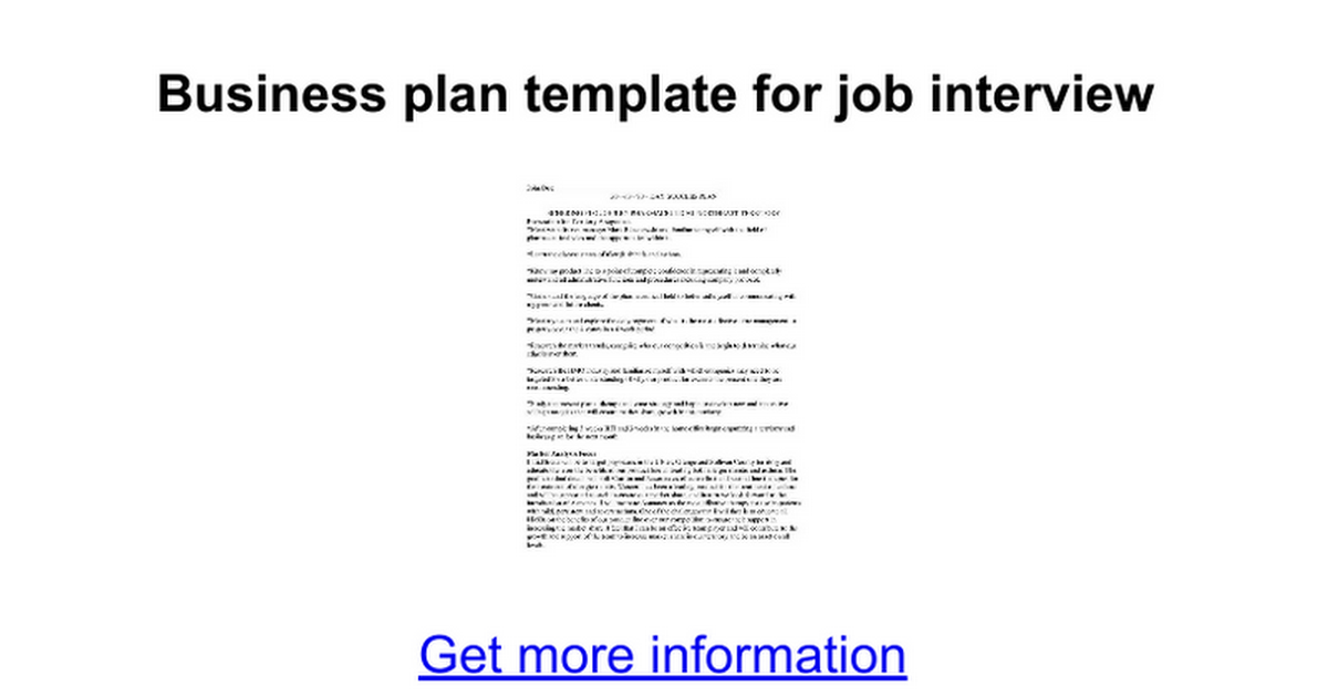 Business Plan Template For Job Interview Google Docs - Business plan for interview template