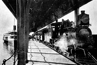 Photo: Estação de Guia de Pacobaíba, em Magé. Nesta foto pode-se ver bem a barca, à direita, e à esquerda, o trem já saindo para subir a serra de Petrópolis