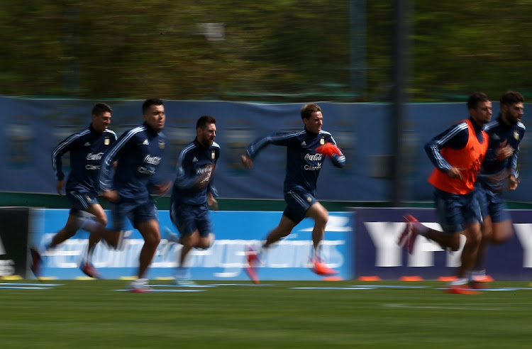 Argentina's Lionel Messi (third left) attends a training session for the World Cup 2018 qualifiers, in Buenos Aires, Argentina. Picture: REUTERS