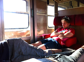 Photo: Shared train compartment worth 3 Germans traveling the same parts.