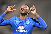 SuperSport United striker Evans Rusike celebrates after scoring a goal during an Absa Premiership match against visitors AmaZulu at Lucas Moripe Stadium on August 08, 2018 in Pretoria, South Africa. SuperSport won 1-0.