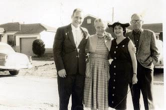 Photo: Patrick Alonzo Tillery and 1st wife Sylvia Alma Granada Tillery. Grace Katherine Martin Tillery between and Joe Bernard Tillery (right) - 1957
