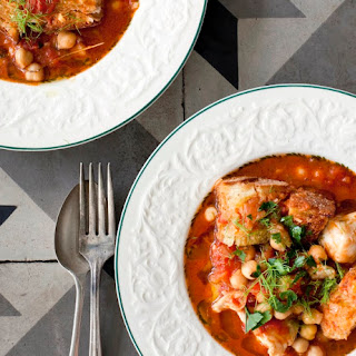 Mediterranean Fish and Chickpea Stew with Garlic Croutons.