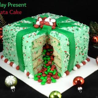 Holiday Present Piñata Cake.