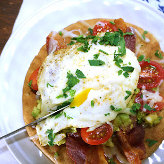 Pita Breakfast Pizza with Avocado and Fried Egg.