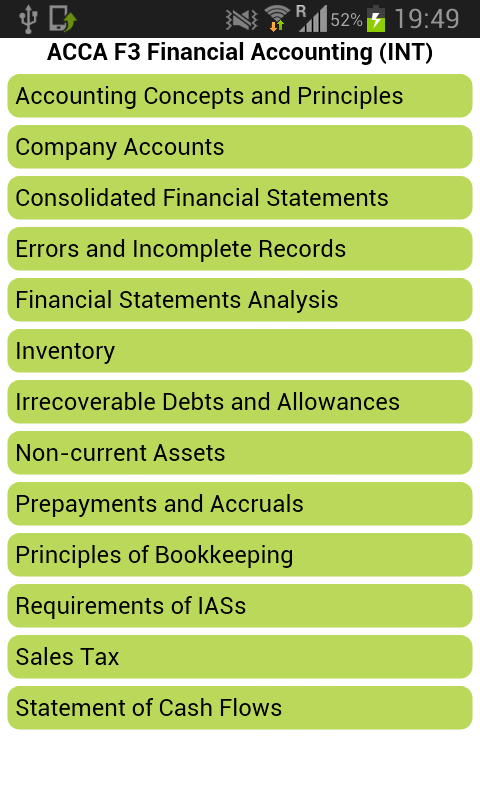 acca f3 financial accounting tuition class We offer a variety of study options and timetables to suits all acca exam sittings  (f1-f3) revision course: €200 per subject  in addition to our classroom learning, we offer tuition through live online which offers live,  of three modules: accountant in business, management accounting and financial accounting.