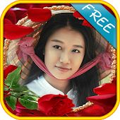Rose flower frame photomontage