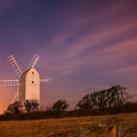 Windmill Sunset by Trev Packer - Buildings & Architecture Other Exteriors ( sky, sunset, windmill, stars, landscape, colours,  )