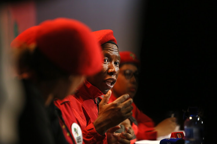 EFF leader Julius Malema during a press conference at the Economic Freedom Fighters' headquarters in Braamfontein, Johannesburg on March 8 2018.