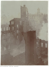 """Photo: East of Bay Street, looking south-west. Photog:W. J. Whittingham. """"The tall fragment in the centre reads """"Comfort Soap."""" The tower to its right is that of the Union Station of the time, which was far enough west to escape the fire."""" - City of Toronto Archives.  The vantage point is from the Telegram building at Bay and Melinda (see next photo as well)"""