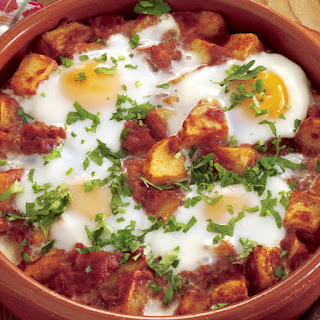 Patatas Bravas con Huevos (Spanish Eggs and Potatoes).
