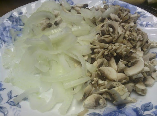 If you haven't already slice the onions and mushrooms to the size you prefer.