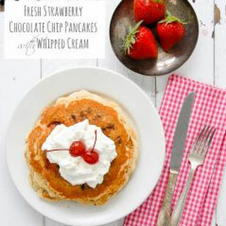 Fresh Strawberry Chocolate Chip Pancakes with Whipped Cream Recipe
