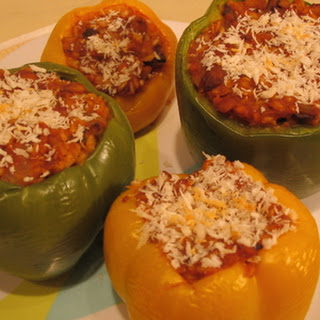 Stuffed Peppers with Ground Beef and Rice.