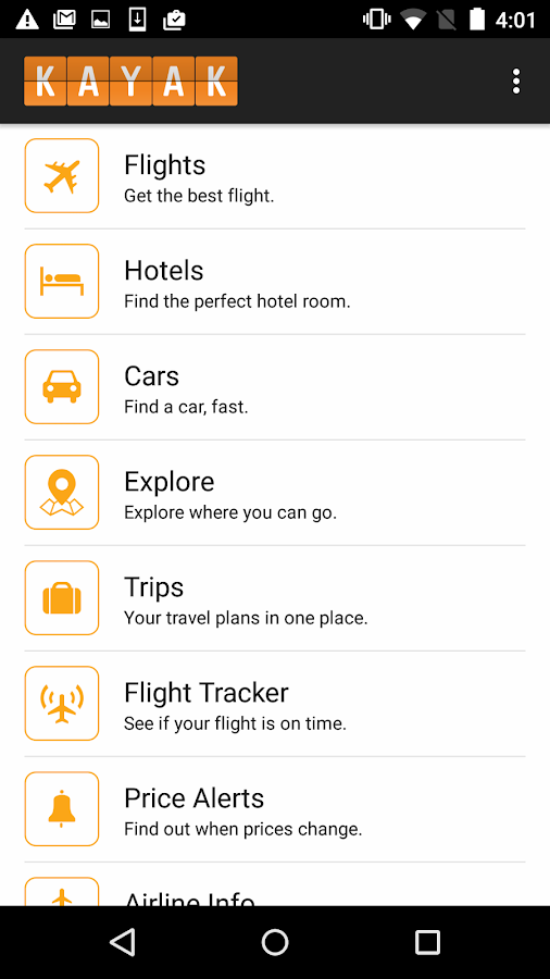 Screenshots of KAYAK Flights, Hotels & Cars for Android