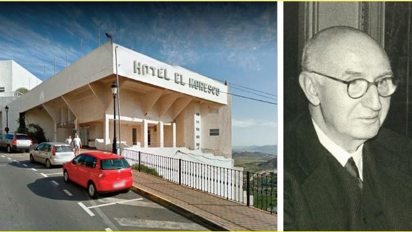 El Moresco es el único hotel que queda en Mojácar pueblo. A la derecha, Juan March, fundador de la Banca March.