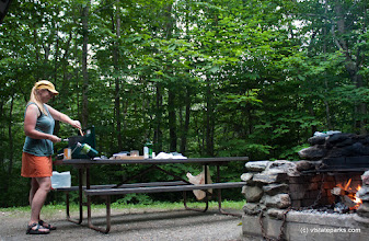 Photo: Getting prepared to cook for group at Smugglers Notch State Park by Tara Schatz