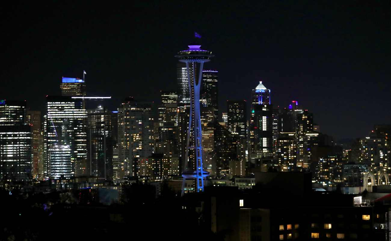 Downtown Seattle, Washington, in April 2020. Photo by Abbie Parr/Getty Images)
