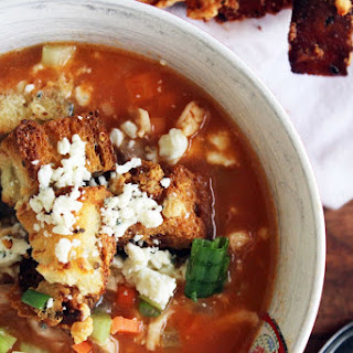 Buffalo Chicken Soup + Blue Cheese Croutons
