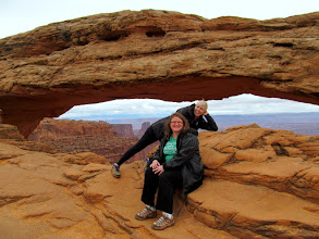 Photo: Traci and Dollie at Mesa Arch