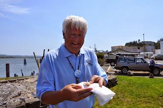 Photo: Mitch tries a salmon eyeball!